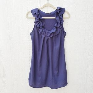 Anthropologie Pins and Needles Navy Ruffled Dress